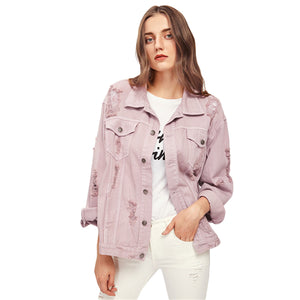 Rips Detail Boyfriend Denim Jacket