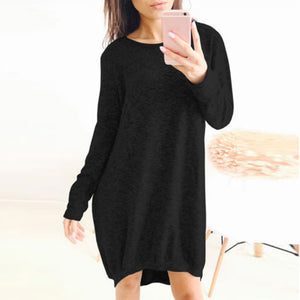 Baggy Knit Dress Loose Sleeve Long Retro Black