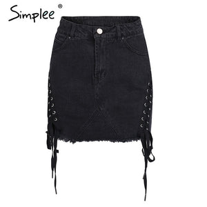 Simplee lace up denim skirt
