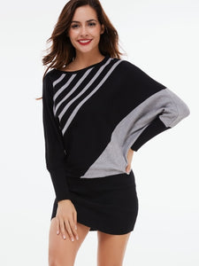 Batwing Sleeve Stripes Bodycon Dress