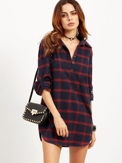 Long Sleeve Red Plaid Shirt Dress