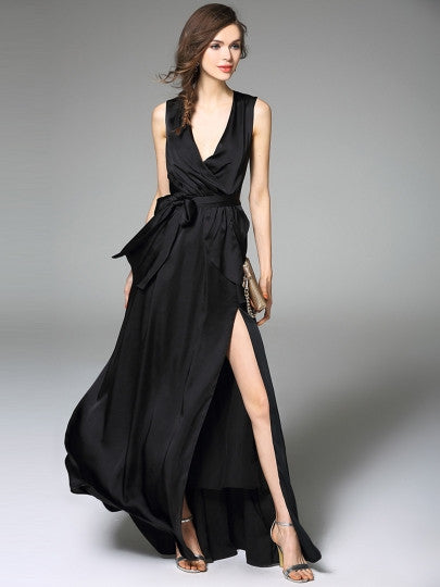 Black V Neck Falbala Pleated Split  Maxi Dress