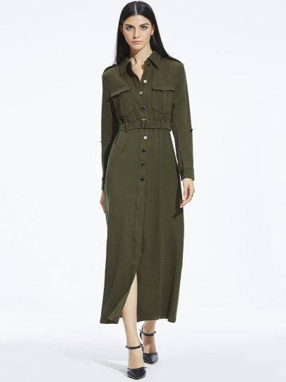 Army Green Button Maxi Dress
