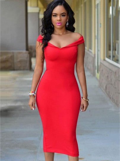 Red Slash Neck Back Zipper Bodycon Dress