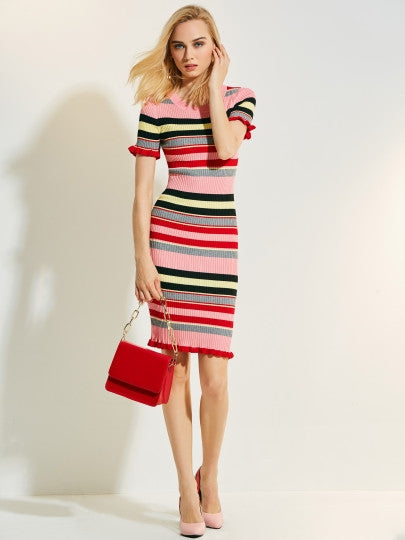 Color Block Stripe Sweater Dress