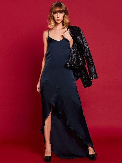 Dark Blue Falbala Cross Back Maxi Dress