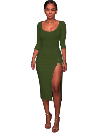 Rivets Half Sleeve Plain Bodycon Dress