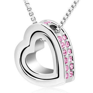 Fashion Double Heart Crystal Rhinestone Eternal Love Silver Necklace PK