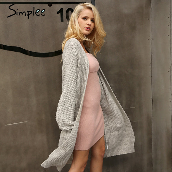 Autumn knitted long cardigan soft loose sweater coat