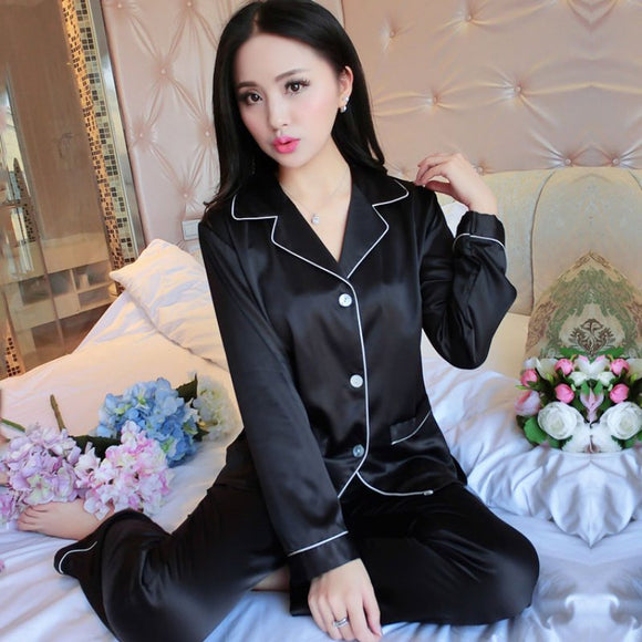 Ladies Long Sleeve Satin Pajamas