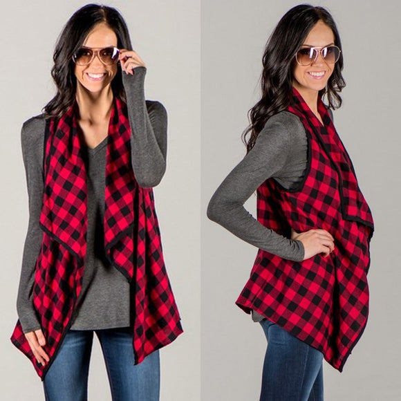 Vest Check&Plaid Sleeveless Open