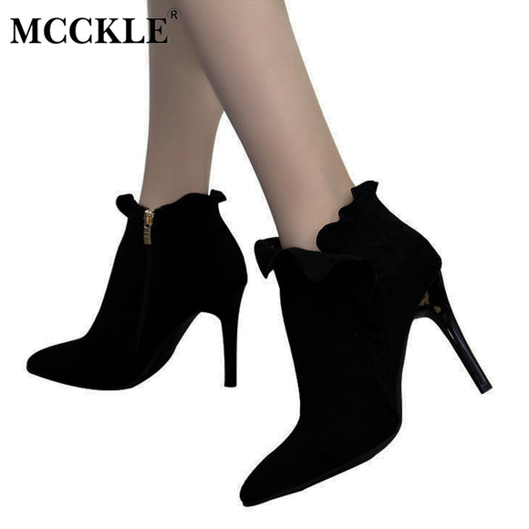 Zip Pointed Toe Slip On High Heels Ankle Boots