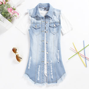 Denim Jeans Sleeveless Vest