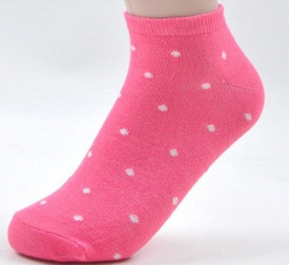 women's socks solid color love color dot sock