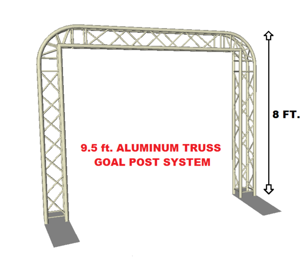 Complete 9.75 ft. Square Aluminum Truss Goal Post Lighting System For DJ Lights Speakers