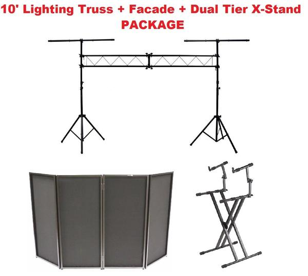 10' Lighting Truss Stage Lighting Stand+Black DJ Facade+Dual Tier Keyboard Stand