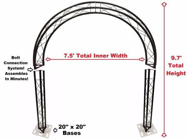 Black Truss Arch Kit Rounded 9.7 ft. Height Mobile Portable DJ Lighting System Metal Bolts