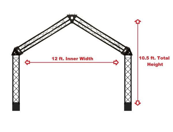 Black Truss Arch Kit 10.5 ft. Height Mobile Portable DJ Lighting System Metal Arch