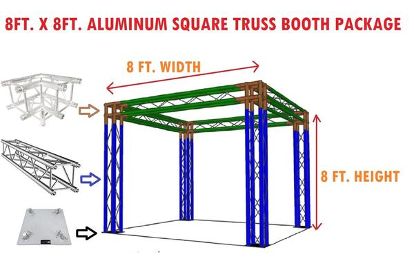 Square Aluminum Truss 8ft. x 8ft. Trade Show Booth Complete Setup Package DJ
