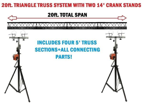 Two 14' Crank Up Stands+Four 5ft. Metal Bolt Connection Triangle Truss Segments