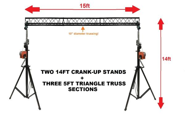 Two 14' Crank Up Stands+Three 5ft 1.5 meter Metal Bolt Triangle Truss Segments