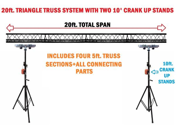 Two 10' Crank Up Stands+Four 5ft. Metal Bolt Connection Triangle Truss Segments