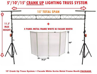 15' Crank Up DJ Stand Truss System + Event Facade White Scrim Metal Frame Booth