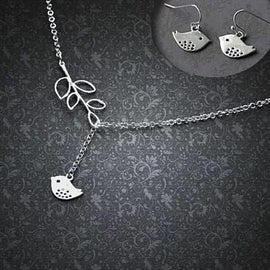 STERLING SILVER SPRING HAS SPRUNG BIRD NECKLACE in 22 Long w/ FREE BONUS EARRINGS""