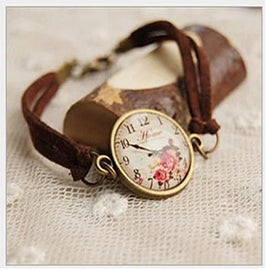 TEA TIME Vintage Inspired Floral Watch Style Bracelet