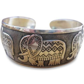 Thai Five Elephant Family Bangle Bracelet