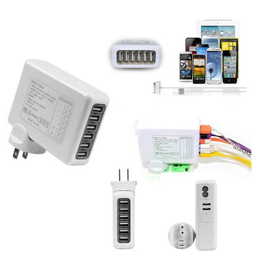 6 USB Ports Wall Charger in one with FREE 3 in 1 Cable