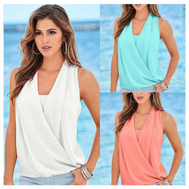 MILANO Chiffon Crossover Sleeveless Blouse