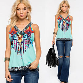 Roma Top In Tribal Print