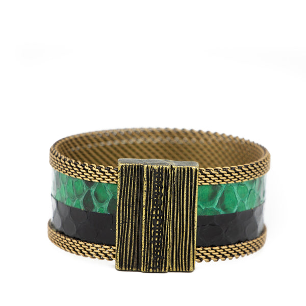 Green Double Exotic Snakeskin Cuff