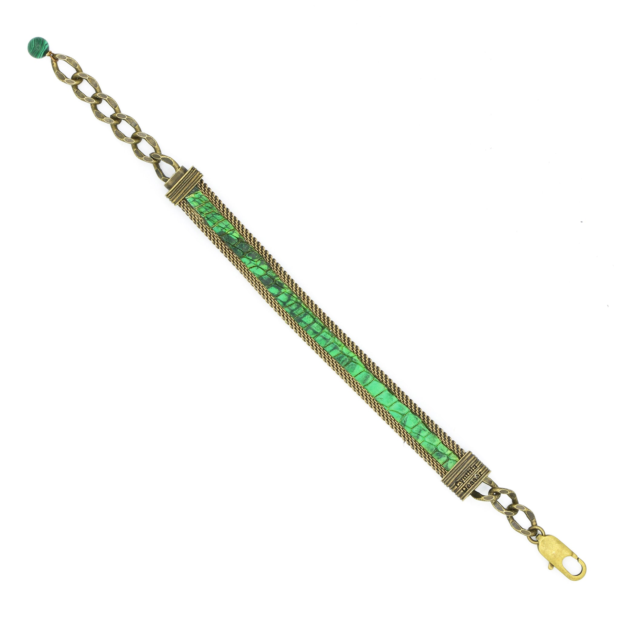 Emerald Green Python Effect Adjustable Skinny Bracelet