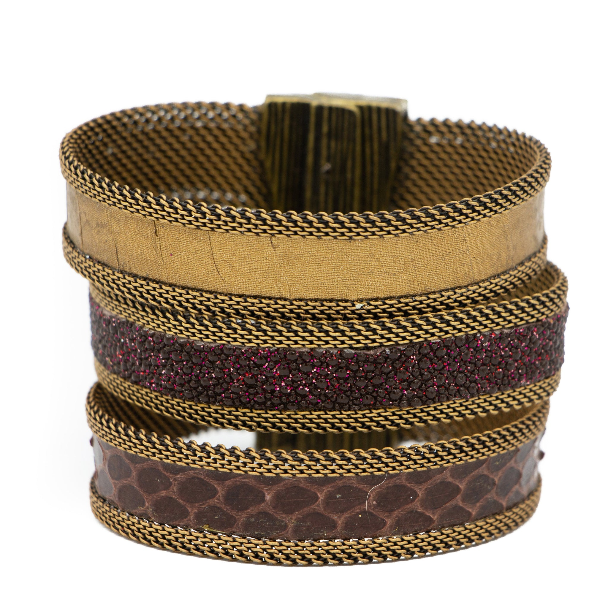 Brown/Merlot Tonal Triple Cuff