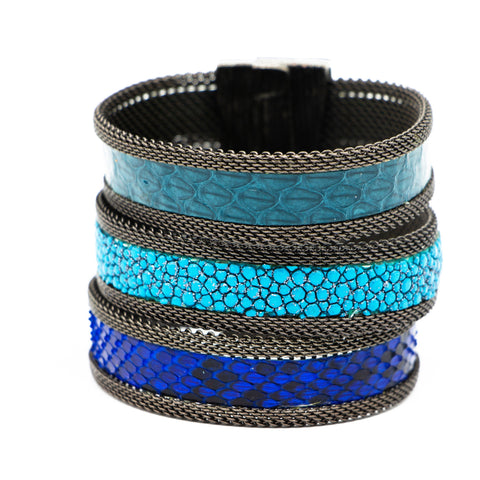 Blue/Teal Tonal Triple Cuff