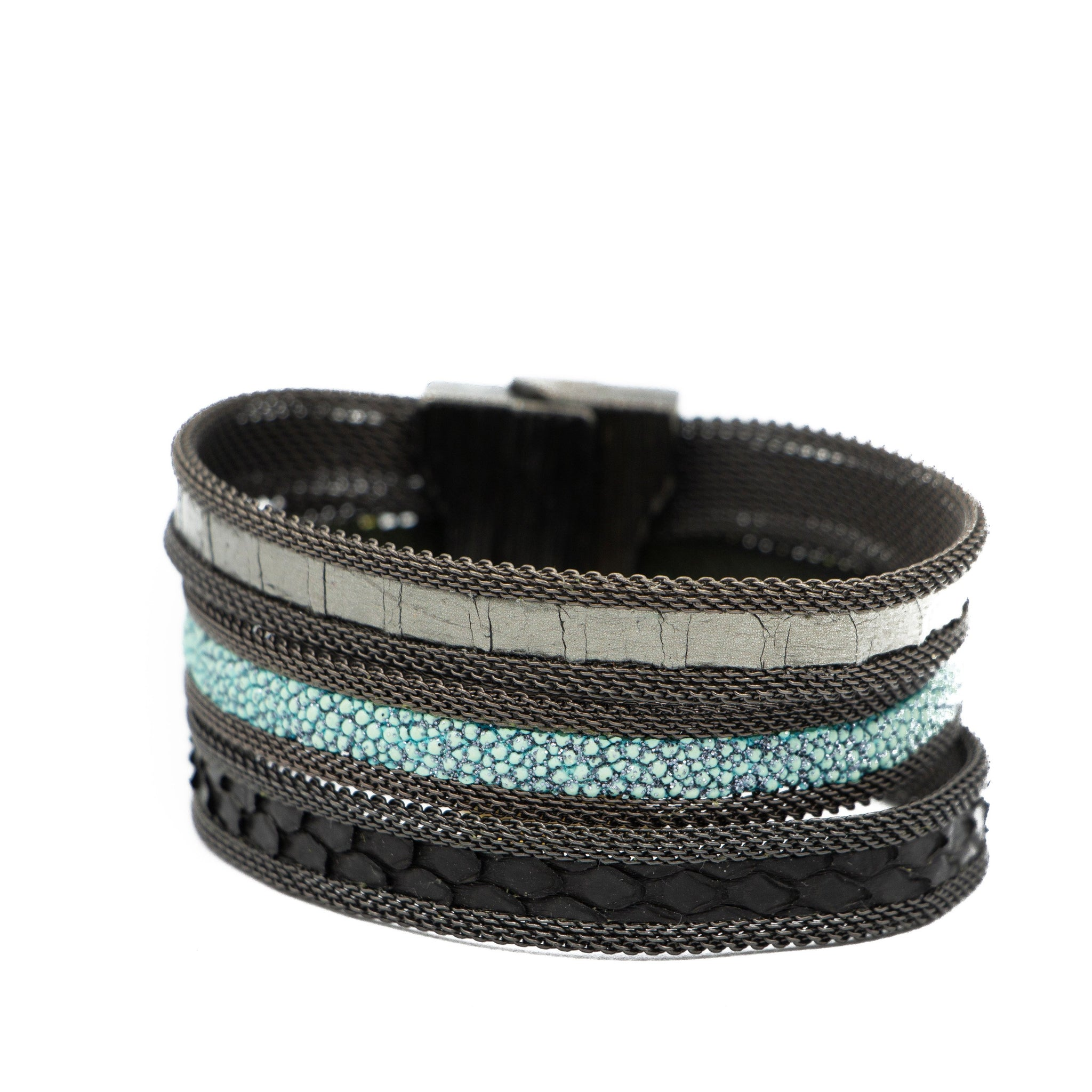 Teal Narrow Tonal Triple Cuff