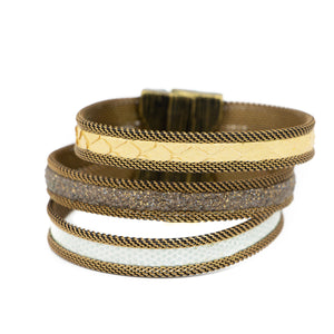 Bright Taupe/Gold Narrow Tonal Triple Cuff