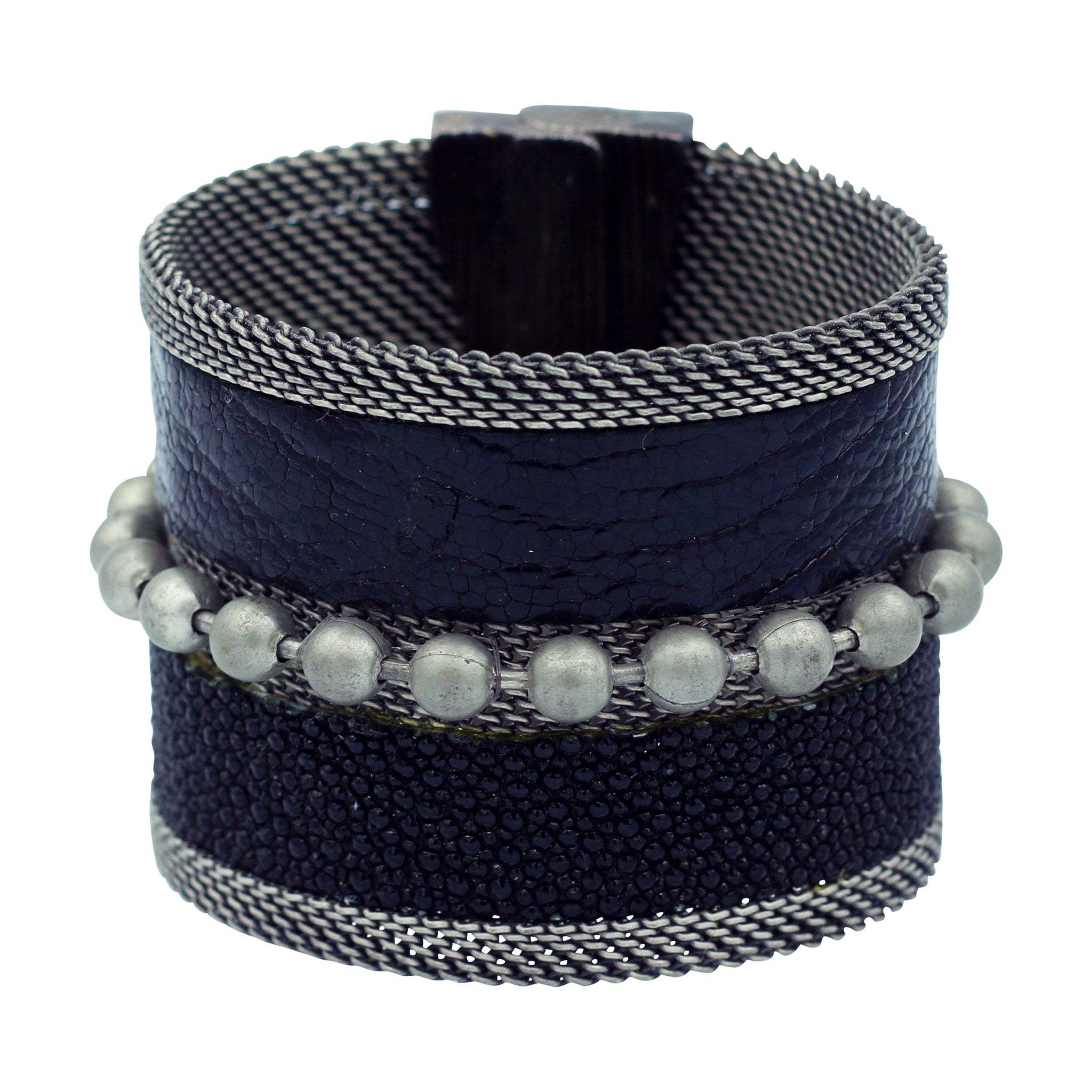 Black Snakeskin & Stingray Cuff