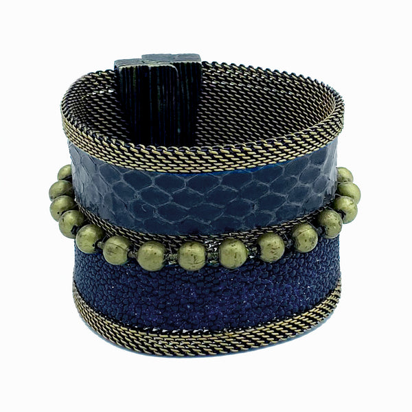 Navy Snakeskin & Stingray Cuff