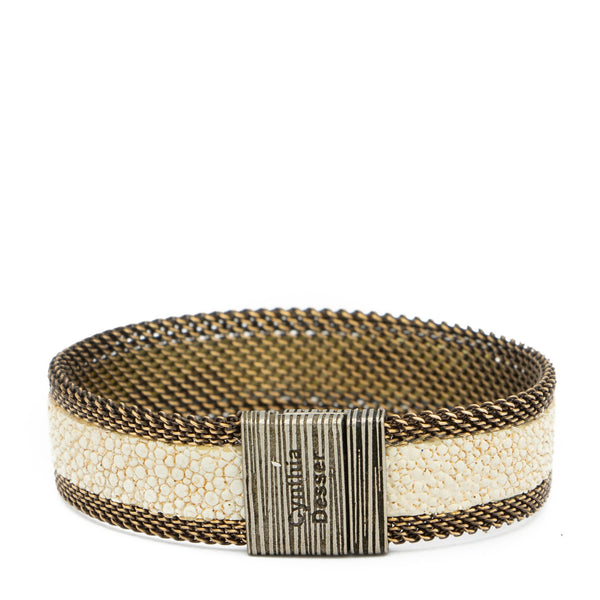 Bone/Gold Shimmer Stingray Bracelet