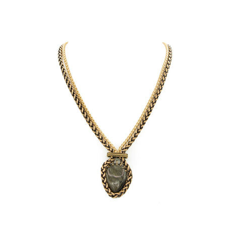Golden Sheen Obsidian & Chains Pendant