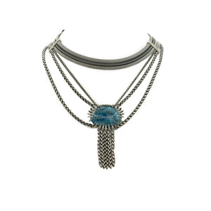 Multi Strand Bib Necklace & Claw Set Apatite