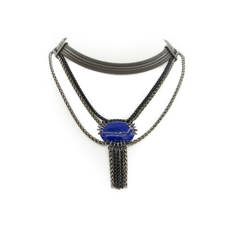 Multi Strand Bib Necklace & Claw Set Lapis