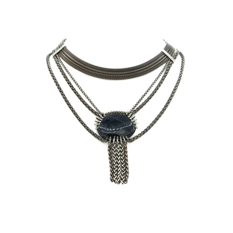 Multi Strand Bib Necklace & Claw Set Black Agate