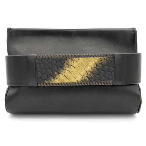 Bronze to Gold Black Snakeskin Clutch Bag