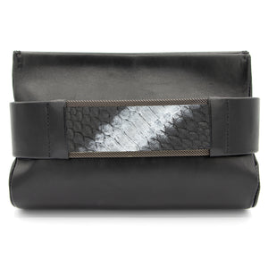 Pewter to Silver Black Snakeskin Clutch Bag