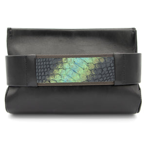 """Labradorite"" Black Snakeskin Clutch Bag"