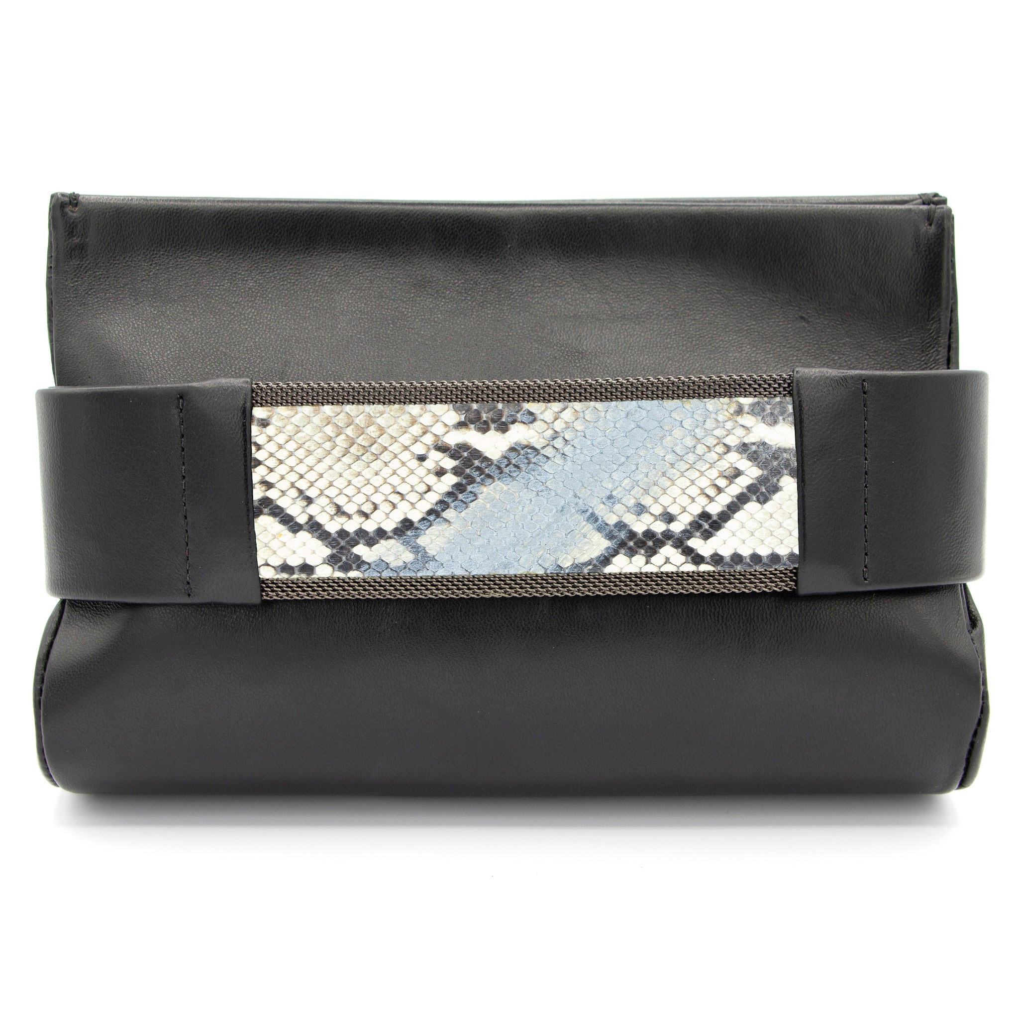 Pewter to Silver Natural Snakeskin Clutch Bag